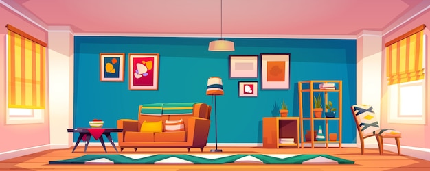 Interior do vetor da sala de estar no estilo boho