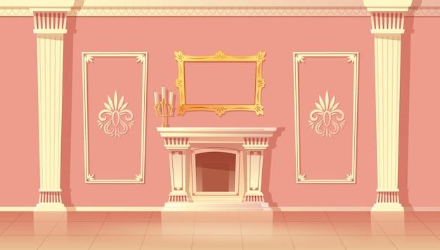 Interior dos desenhos animados da luxuosa sala de estar, salão de festas com lareira.