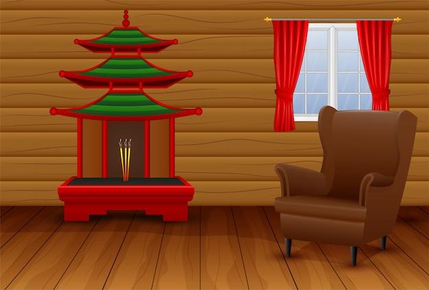Interior dos desenhos animados da sala chinesa