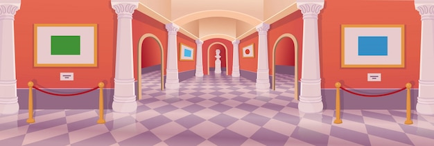 Interior dos desenhos animados de vetor da galeria de arte do museu hall.