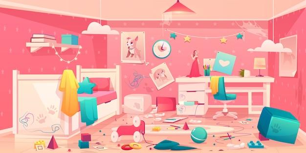 Interior dos desenhos animados do quarto bagunçado de menina
