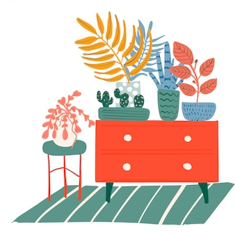 Interior dos quartos com plantas
