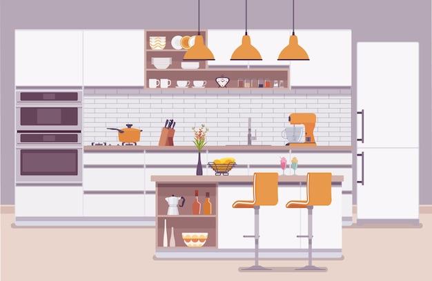 Interior e design modernos da sala da cozinha