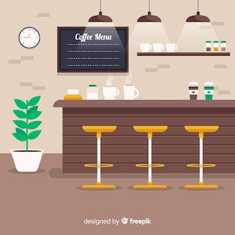 Interior elegante café com design plano