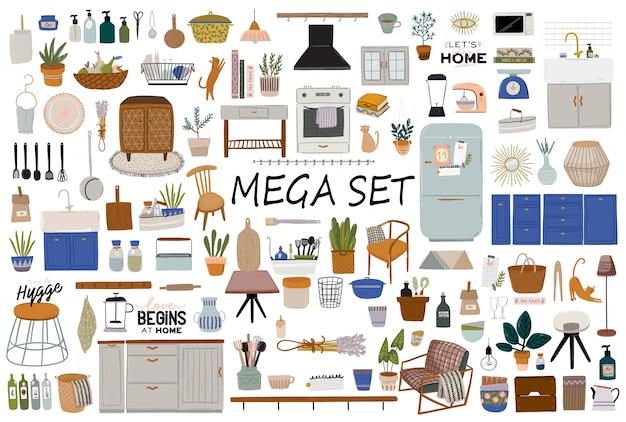 Interior elegante da cozinha escandinava - fogão, mesa, utensílios de cozinha, geladeira, decoração para casa