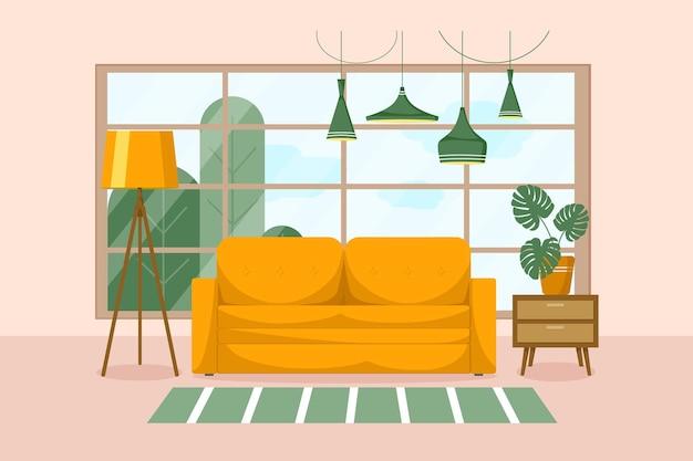 Interior elegante da sala de estar com móveis Vetor Premium