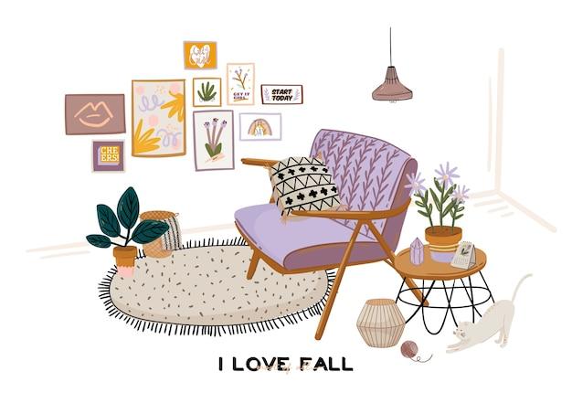 Interior elegante da sala de estar scandic - sofá, poltrona, mesa de centro, plantas em vasos, abajur, decoração para casa. seasone aconchegante de outono. apartamento moderno e confortável decorado em estilo hygge