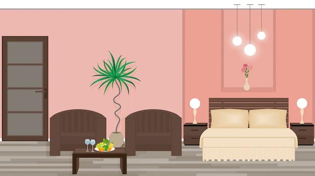 Interior elegante de um quarto de hotel com móveis