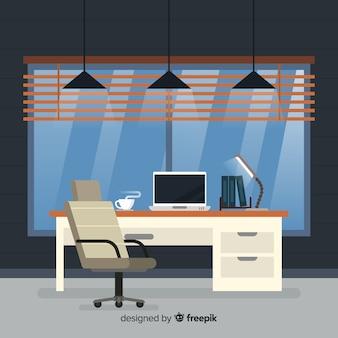 Interior elegante do escritório com design plano