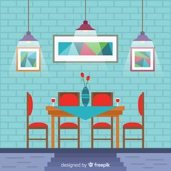 Interior elegante restaurante com design plano