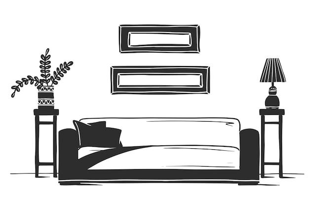 Interior em estilo escandinavo. parte da sala. mão-extraídas ilustração de um estilo de desenho.