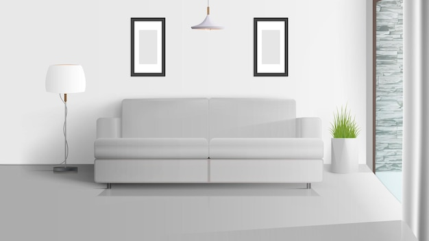 Interior em estilo loft. sala iluminada. sofá branco, abajur com abajur branco, pote de grama. ilustração.