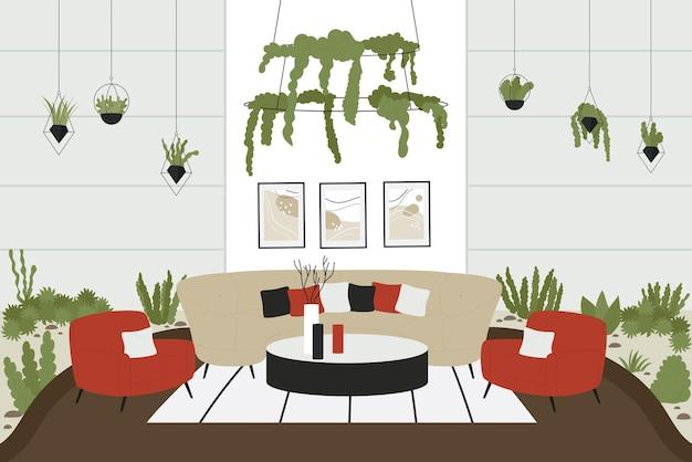 Interior escandinavo de casa moderna