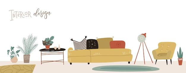 Interior escandinavo e acessórios para casa de meados do século moderno sala de estar. ilustração dtawn de mão plana