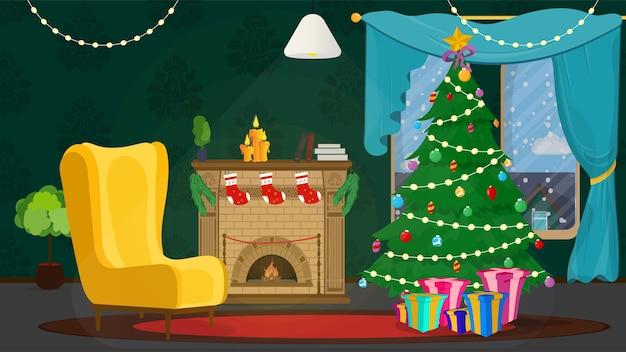Interior festivo da sala de natal na véspera de feliz ano novo.