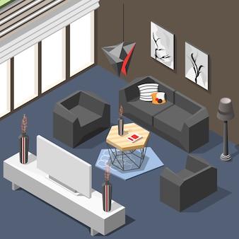 Interior futurista do salão isométrico