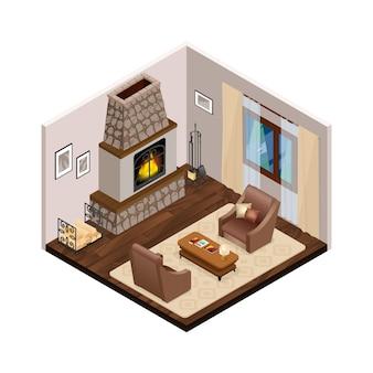 Interior isométrica de salão com lareira