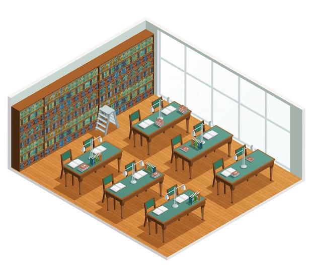 Interior isométrica para livraria e biblioteca, sala de leitura com estantes e mesas com livro aberto