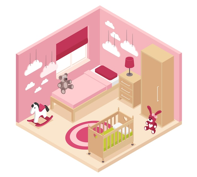 Interior isométrico aconchegante do quarto infantil rosa com armário de cabeceira perto da cama, berço e beliche