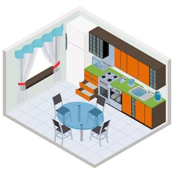 Interior isométrico da cozinha - ilustração