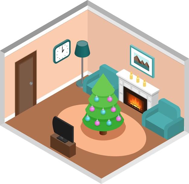 Interior isométrico da sala de estar com árvore de natal. vetor.