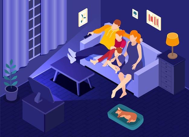 Interior isométrico da sala de estar do cinema online com a família sentada em casa no sofá assistindo filme online