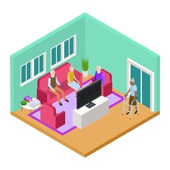 Interior isométrico da sala de estar do lar de idosos com conceito de vetor de idosos