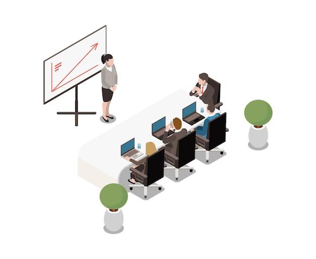 Interior isométrico da sala de reuniões com mesa moderna de plantas de quadro branco e executivos.