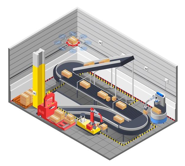 Interior isométrico de armazém automático