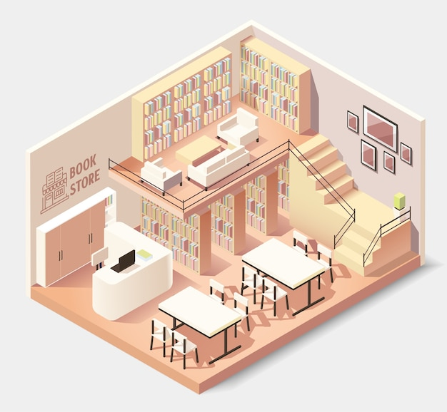 Interior isométrico de livraria ou biblioteca.