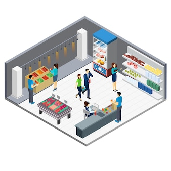 Interior isométrico de mercearia