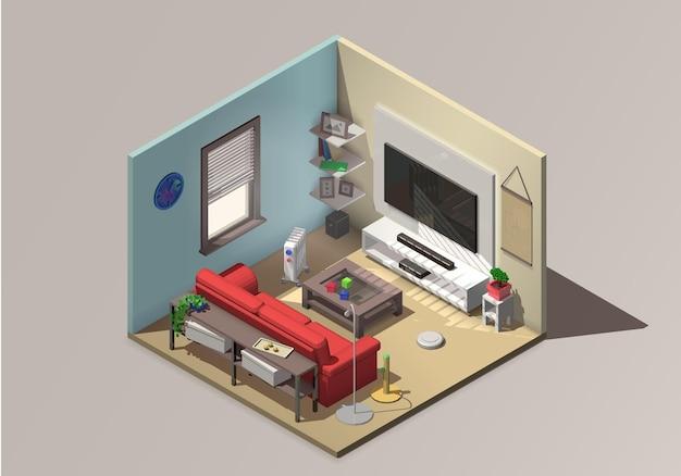 Interior isométrico de sala de estar vetorial com sofá vermelho