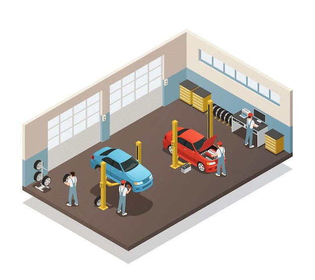 Interior isométrico de serviço de manutenção de carro