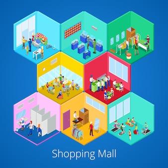 Interior isométrico de shopping center com ginásio fitness club boutique e loja de roupas. ilustração