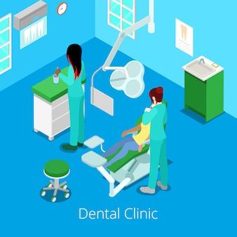 Interior isométrico do armário do dentista com paciente e doutor.