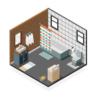 Interior isométrico do banheiro de combinação