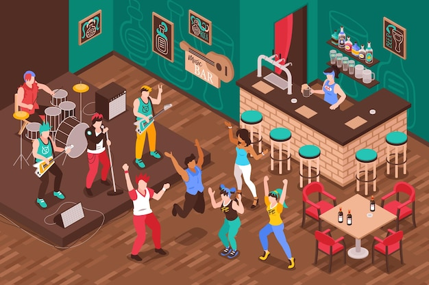 Interior isométrico do bar musical com barman no balcão do bar, músicos e visitantes dançando