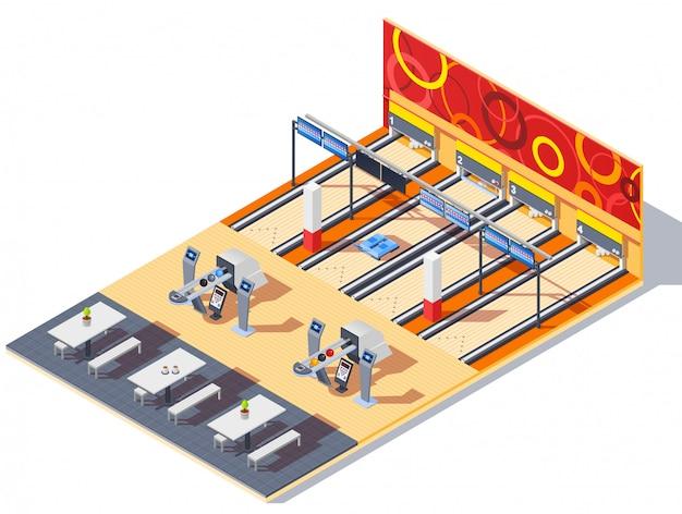 Interior isométrico do centro de boliche