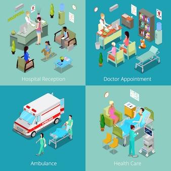 Interior isométrico do hospital. consulta com médico, recepção no hospital, primeiros socorros em ambulância, assistência médica. ilustração 3d plana