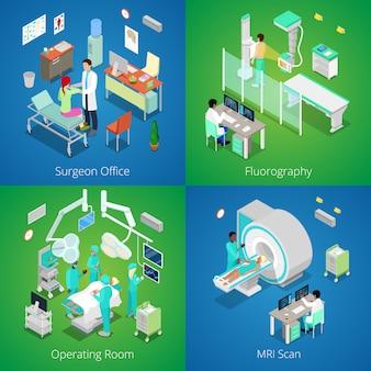 Interior isométrico do hospital. ressonância magnética médica, sala de cirurgia com médicos, processo de fluorografia, cirurgião. ilustração 3d plana