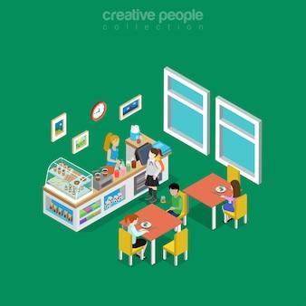 Interior isométrico do restaurante, cantina, café ou sala de jantar na ilustração de escola, faculdade ou universidade. conceito de isometria de comida e bebida. café, donuts, sobremesas e limonada.