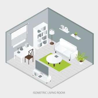 Interior isométrico para casa