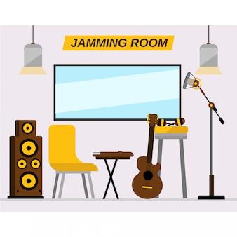 Interior jamming room para estúdio de gravação de música
