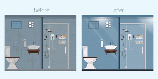 Interior limpo e sujo do banheiro com móveis.