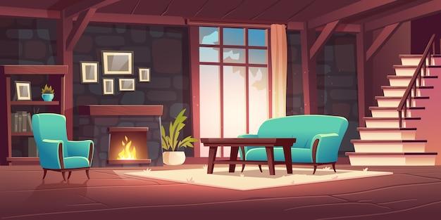 Interior luxuoso da antiga sala de estar com lareira a lenha na parede de pedra