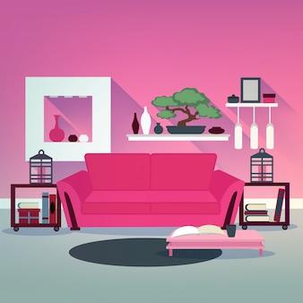 Interior moderna sala de estar em estilo asiático com bonsai, sofá e livros