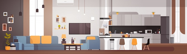 Interior moderno apartamento com sala e cozinha banner horizontal