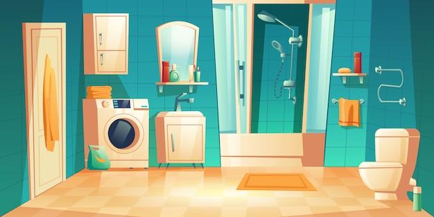 Interior moderno banheiro com desenhos animados de móveis