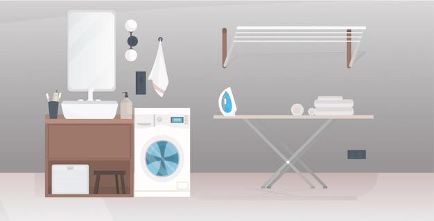 Interior moderno banheiro vazio sem apartamento de pessoas com móveis horizontais