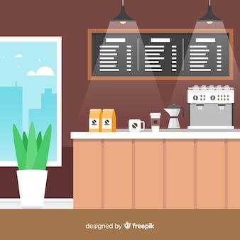 Interior moderno café com design plano